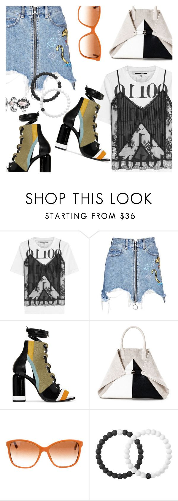 """""""Denim & Lace"""" by stacey-lynne ❤ liked on Polyvore featuring McQ by Alexander McQueen, Marcelo Burlon, Pierre Hardy, Akris, Dolce&Gabbana and Lokai"""