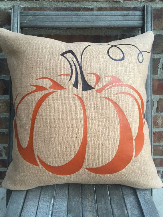 FALL PUMPKIN PILLOW - waxed burlap pumpkin slipcover only with burnt orange and brown curly stem