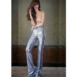 Amazing silver sequin pants! Pantaloni din paiete argintii