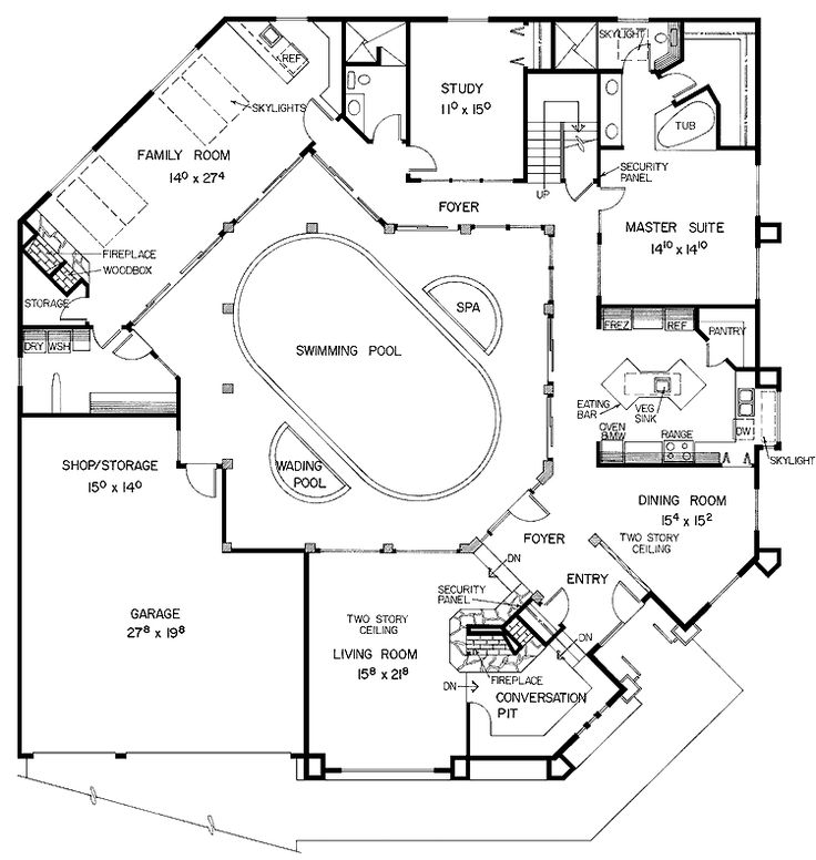 Pool Design Plans house plans with pools and outdoor kitchens for rear home idea elegant modern style floor Home Plans Designed Around Pools Are All About Entertaining And Outdoor Floor Plans In This Collection
