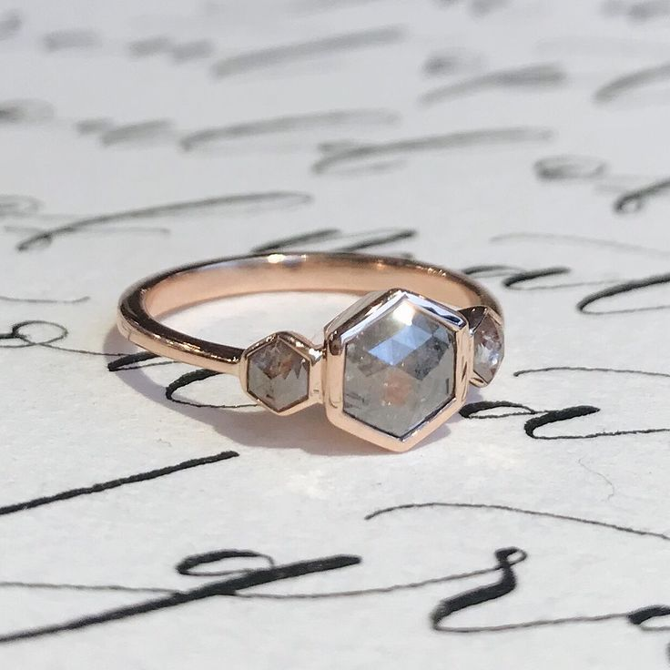 New hexagon rose cut trilogy ring  SOLD