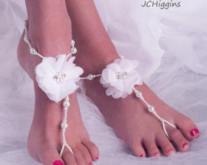 Bianco da sposa Sandali a piedi nudi, matrimonio sandali a piedi nudi, sandalo da spiaggia matrimonio a piedi nudi, piedi nuziale gioielli, senza piede sandalo