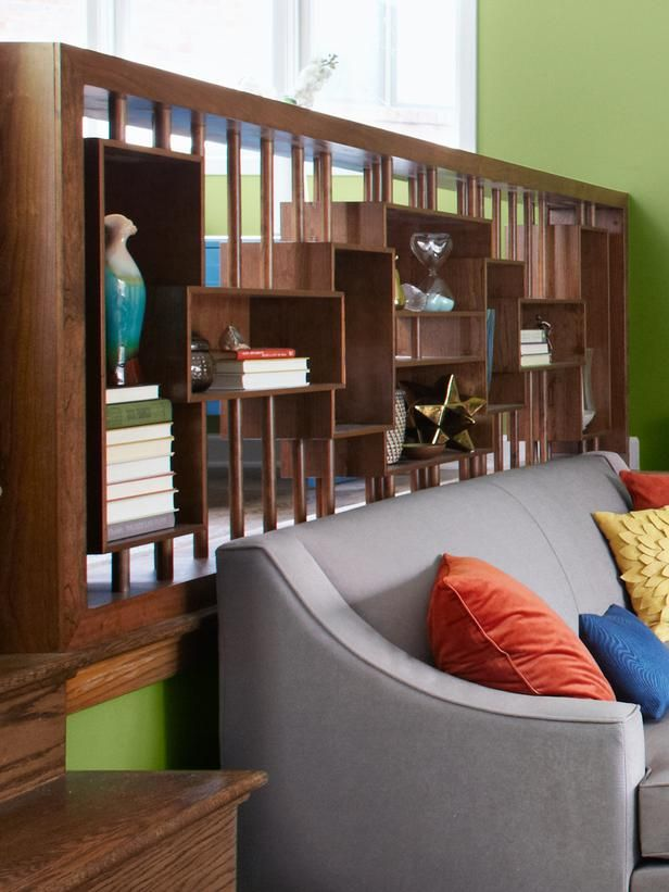 Meg Caswell added this functional divider to break up a bi-level room.