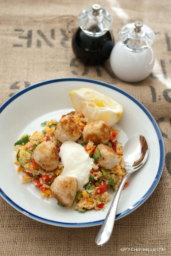 Chicken Meatballs and Vegetable Quinoa Salad