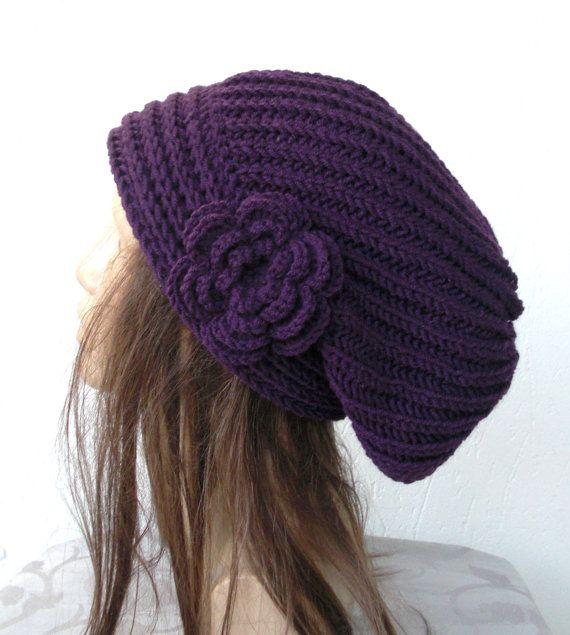 Hand Knit Hat Womens hat chunky knit Slouchy Purple by Ebruk, $35.00
