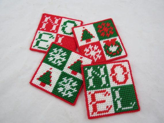 Plastic Canvas Christmas Coasters Noel by VintageCocobytheLake