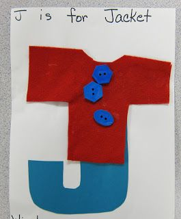 J is for Jacket.  Cut out felt jackets and use in math center.  Count buttons onto jacket.