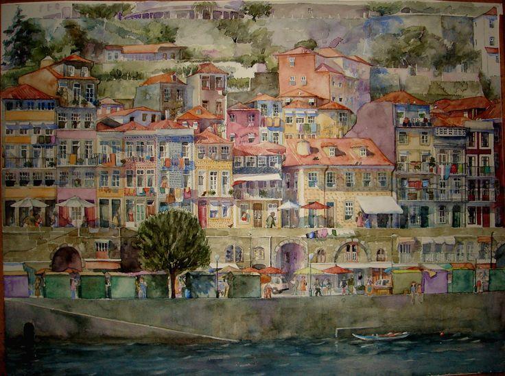 Zona Ribeirinha, Porto by Vanessa d'Azevedo  http://vanessazevedoart.wixsite.com/inicio