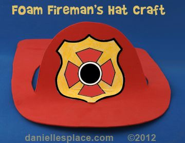Craft Foam Fireman's Hat Craft for Kids - directions on www.daniellesplace.com