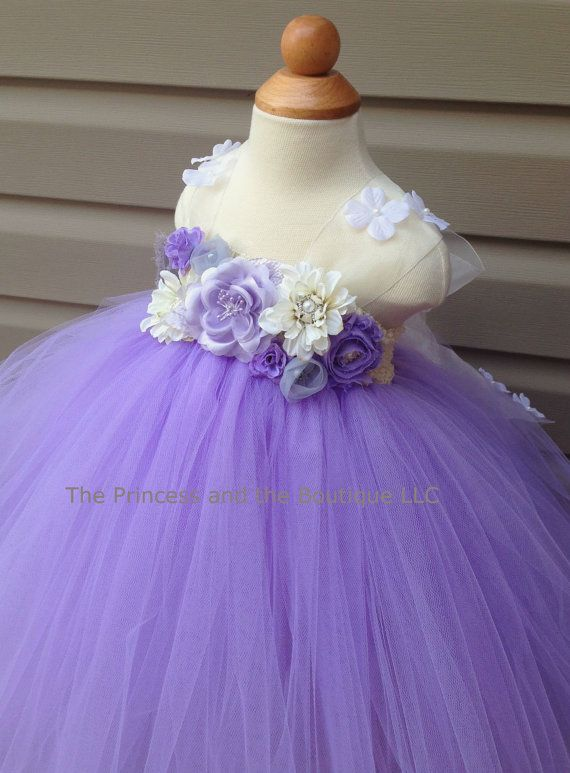 Flower girl dress silver lavender ivory by Theprincessandthebou