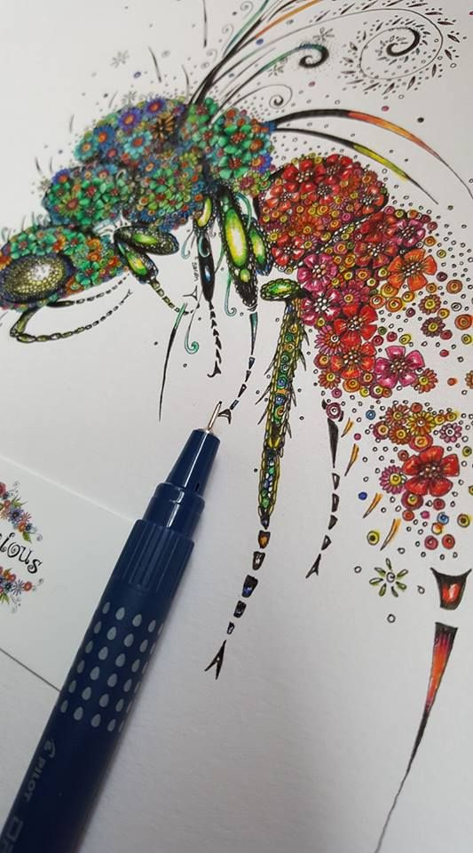 Ruby tailed wasp close up detail by Doodleicious Art #wasp #doodle #art #colour #flowers #greeting card #insect #floral artwork #flowers #detailed artwork #surface pattern #ruby Tailed Wasp