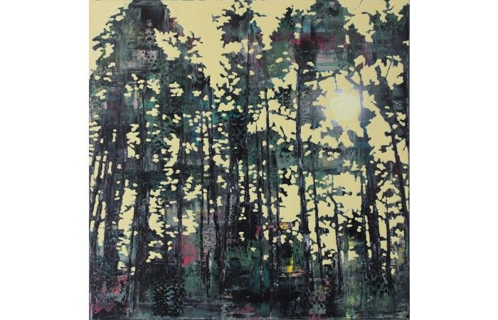 Szilárd Cseke Gloomy trees  [2014]  Oil, acrylic on canvas 58 × 58 cm (22.8 × 22.8 inch) Estimate €1,000 - €1,500  http://lavacow.com/gloomy-trees.html
