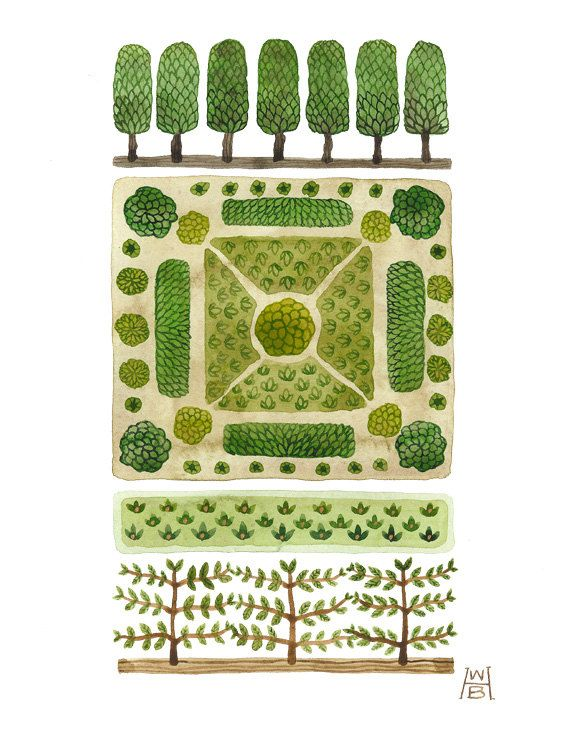 From my Nature and Artifice series. Inspired by garden maps, knot and parterre gardens, topiary, and espalier. Original watercolor painting, one of a kind, painted by hand.    Title: Parterre No. 3  Medium: original watercolor painting  Palette: green, chartreuse, brown, gold  Paper type: hot pressed, smooth finish, 140 Lb, 300g/m  Paper measures: 11 x 8.5 inches, 28 x 21 cm  Image measures: 9.5 x 5.5 inches, 24 x 14 cm  Signature: HWB on front, titled, signed, dated in pencil on verso  ...