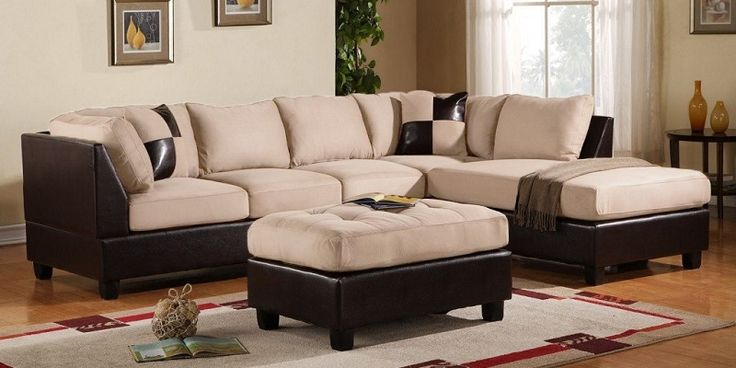 3 Piece Modern Soft Reversible Microfiber and Faux Leather Sectional Sofa with Ottoman Beige