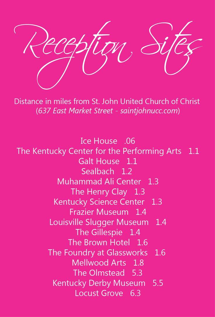 Reception sites close to St. John United Church of Christ, Louisville, Kentucky