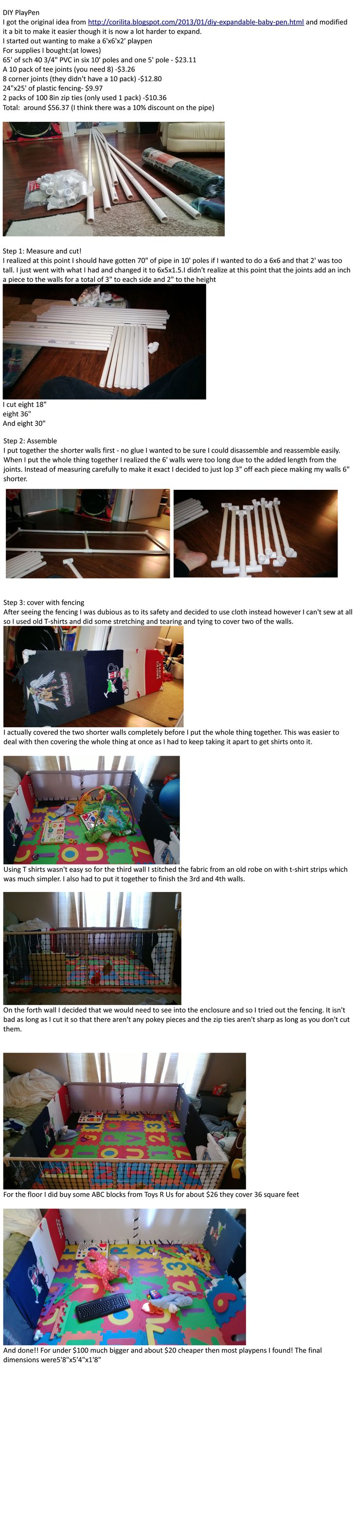 DIY PVC Playpen! We're building this soon and debating on the material we want to use for the sides.