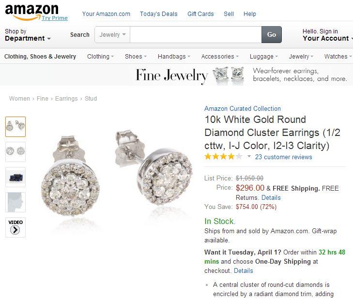 10k White Gold Round Diamond Cluster Earrings