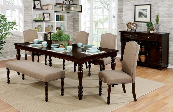 """6 pc Hurdsfield collection transitional style antique cherry finish wood dining table set with bench. This set includes the table and 4 side chairs and bench.  Table measures 72"""" (90"""" with 1 - 18"""" leaf) x 42"""" x 30"""" H.  Side chairs measure 18 3/4"""" x 23"""" x 41"""" H.   Bench measures 56"""" x 16"""" x 18 1/2"""" H.  Some assembly required."""