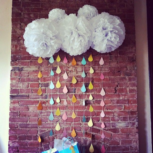 Paper rain cloud (good for a baby/bridal shower)