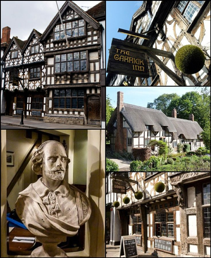 The Garrick Inn, Stratford upon Avon, birthplace of 'The Bard' Sir William Shakespeare. Anne Hathaways cottage middle inset on the right. Quintiscential England.