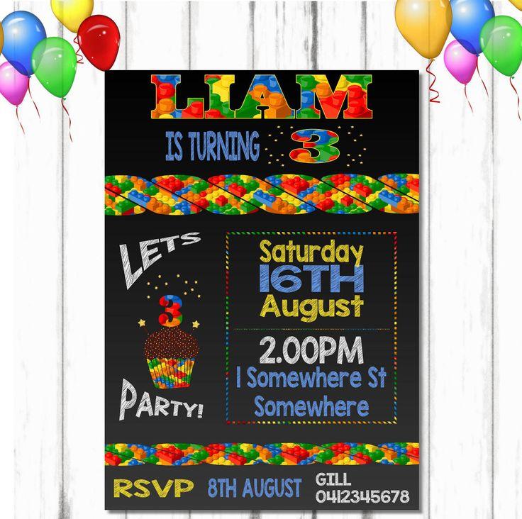 Lego Bricks Birthday Invite, Lego Birthday Invitations, Lego Printable Party, Lego Invitation, Printable Lego Birthday, Bricks Birthday