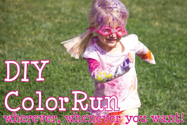 DIY Color Run (using Holi festival colors) at home!  this will have to be done with all the kids this summer!