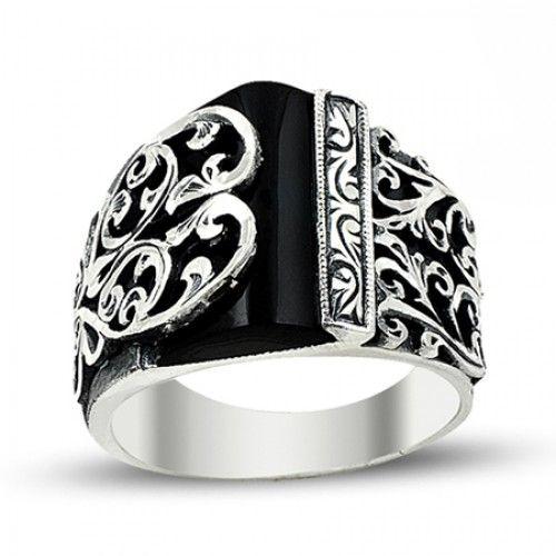 Erkek Yüzük - Siyah Taşlı Asimetrik Tasarım Erzurum El Işi Gümüş Erkek Yüzüğü