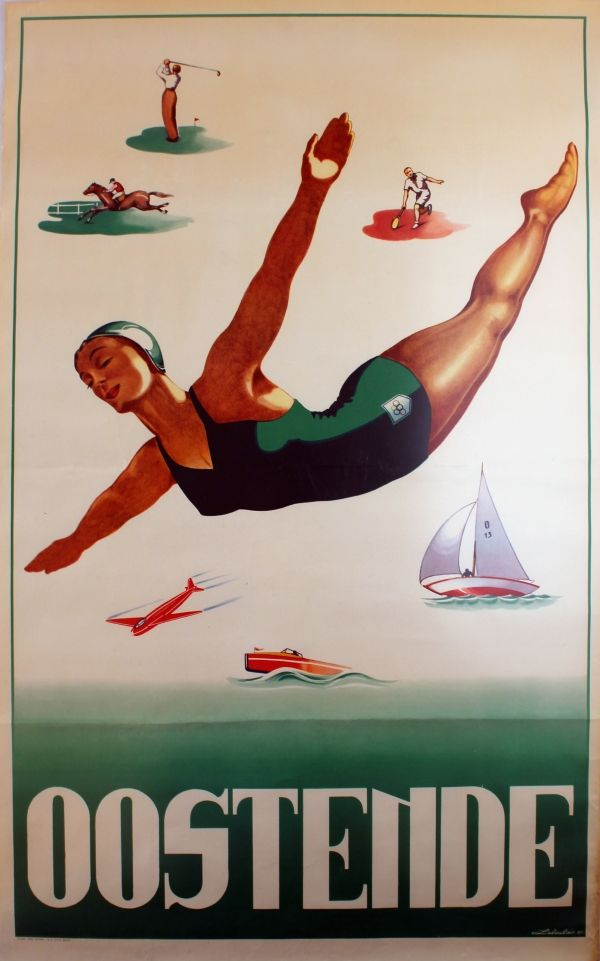 Original Vintage Posters -> Sport Posters -> Ostend Belgium Oostende Golf Tennis - AntikBar