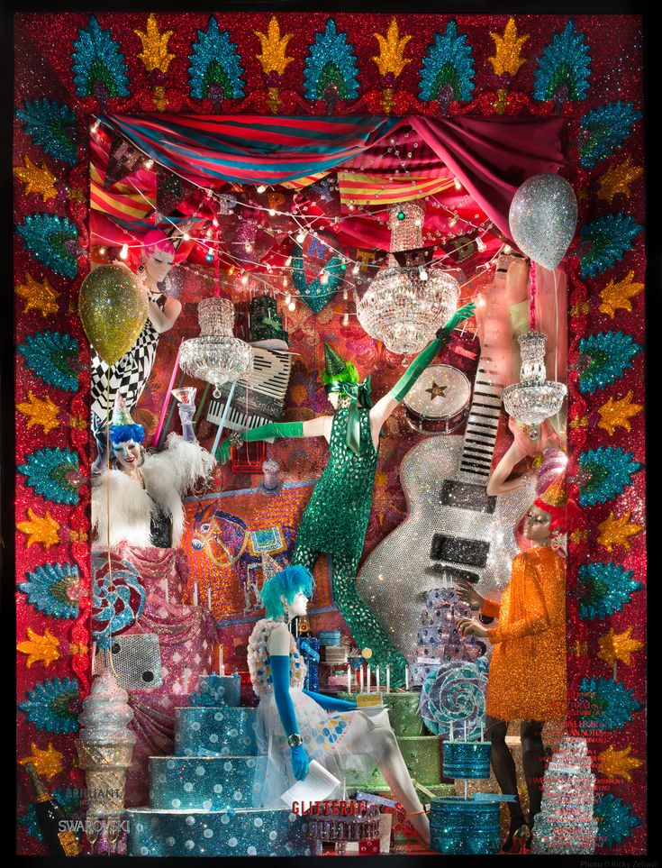 "Awash in more than 7 million Swarovski crystals, Bergdorf's 2015 holiday windows along Fifth Avenue celebrate Swarovski's 120th anniversary and the release of a lavish monograph from Rizzoli documenting the company's history and its far-flung collaborations in fashion, jewelry, performance, and design.  The theme for the window spectacle is ""Brilliant Holiday."""