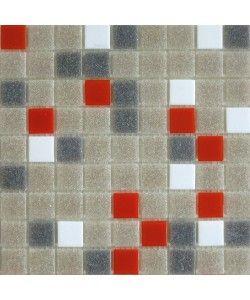 "Brio Midcentury Palette Blend Glass Mosaic Tile 3/4"" Multicolor Gravel Sleet Orange and Bright White Tile Square Closeup"