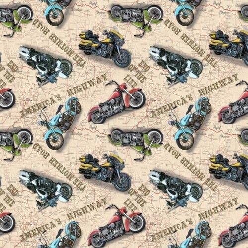 American Dream - Blank Quilting - All Over Motorcycles on Ivory Map