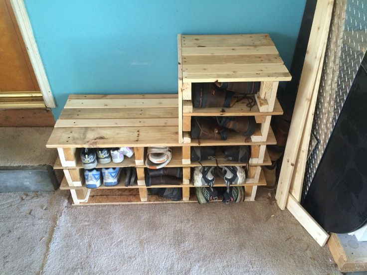 Garage Shoe Rack Bench Made Out Of 2 Wood Pallets Done
