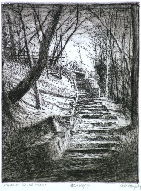 "Bill Murphy (American, 1952- ), ""Stairway in the Woods,"" ca. 2013."