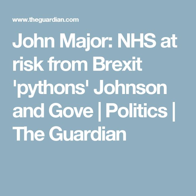 John Major: NHS at risk from Brexit 'pythons' Johnson and Gove | Politics | The Guardian