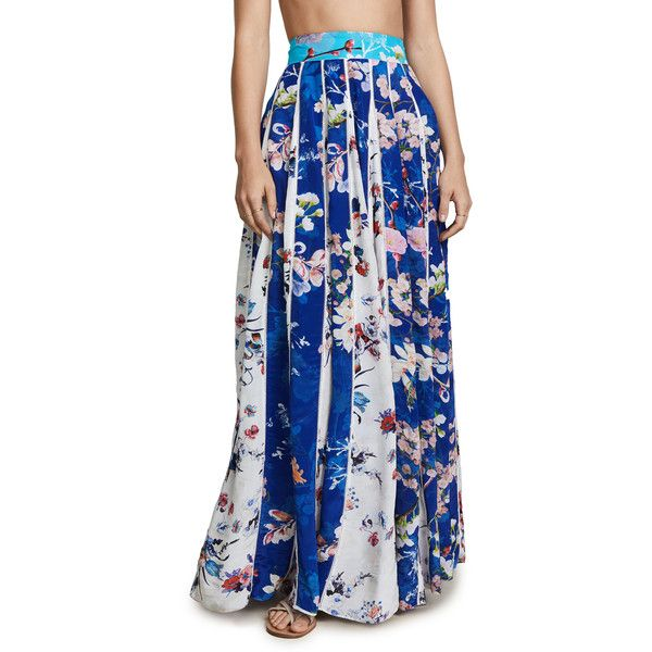 ROCOCO SAND Bella Pleated Long Skirt ($395) ❤ liked on Polyvore featuring skirts, blue, pleated maxi skirts, blue maxi skirt, pleated chiffon maxi skirts, summer maxi skirts and long maxi skirts