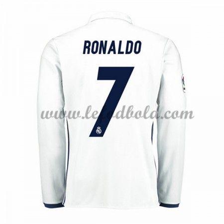 Billige Fodboldtrøjer Real Madrid 2016-17 Ronaldo 7 Langærmet Hjemmebanetrøje