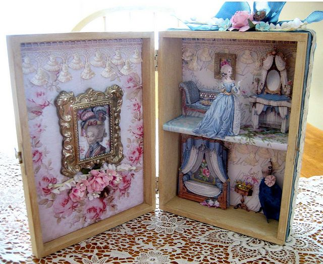 Marie Antoinette altered cigar box doll house