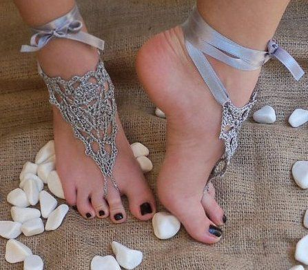 silver crochet barefoot sandals,: Crochet Barefoot Sandals, Nude Shoes, Foot Jewelry, Gray Silver, Wedding Shoes, Silver Crochet, Shoes Gray, Feet Jewelry, Beaches Wedding