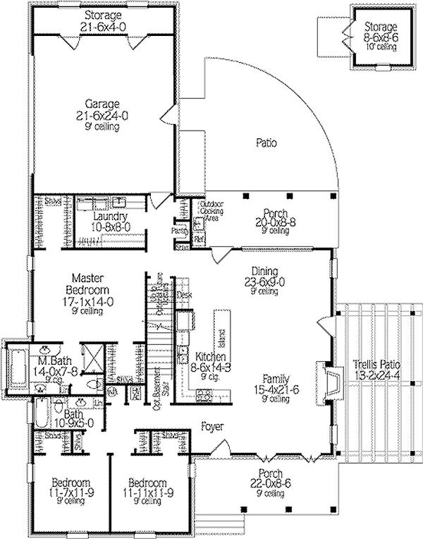 Country Style House Plan 3 Beds 2 Baths 2062 Sq Ft Plan 406 140 Country Style House Plans Country House Plans House Plans