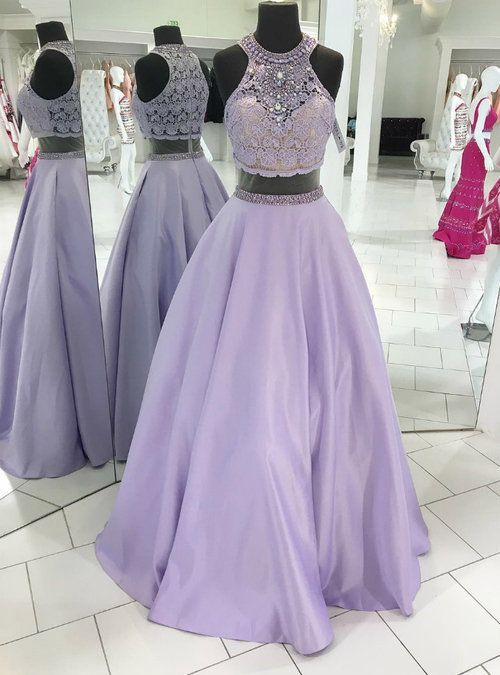 bb917092b4c6 Silhouette:a-line Hemline:floor length Neckline:halter Fabric:satin lace  Sleeve Style:sleeveless Color:purple Back Style:zipper up  Embellishment:crystal ...
