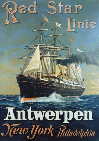 Antwerpen New York♥ Philadelphia Red Star linie vintage poster  G81437