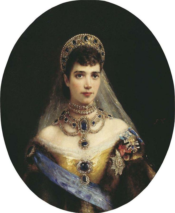 Portrait of Empress Marie Feodorovna (Dagmar of Denmark) - by Konstantin Makovsky