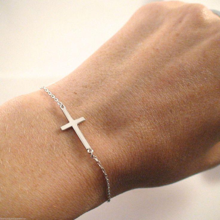 """Brenda...Sideways Cross Bracelet 925 Sterling Silver 7"""" Long 6""""+1"""" Extension"""