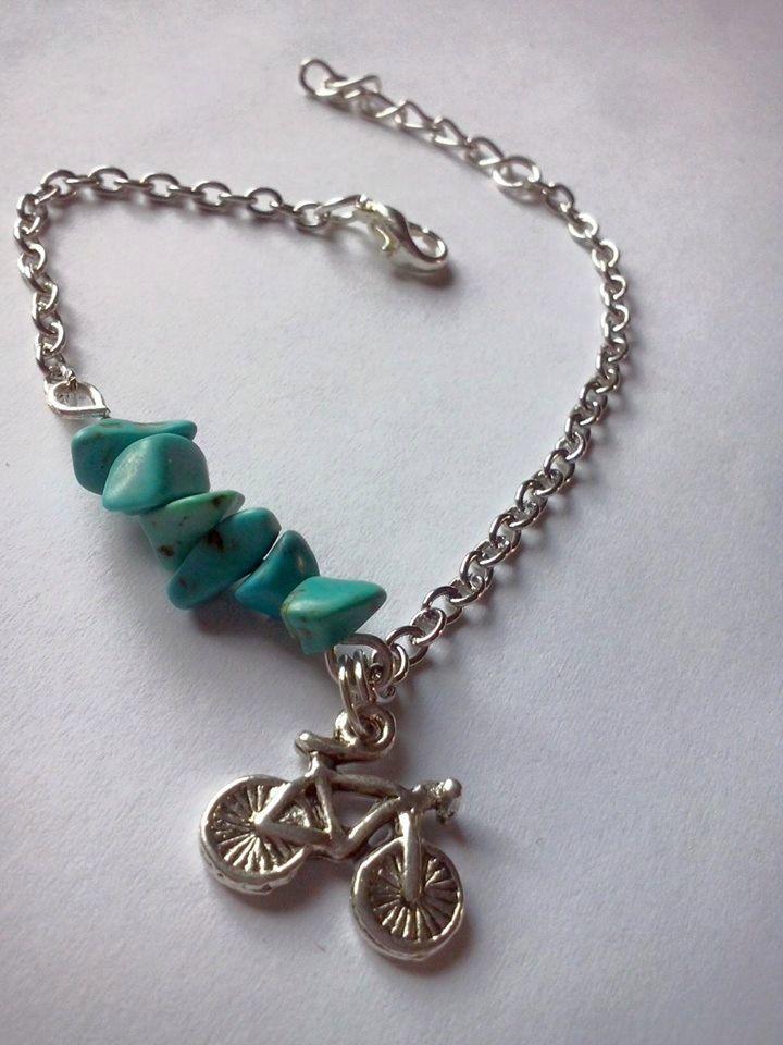 Turquoise bracelet,bike bracelet ,trijewelry, by TriJewelry on Etsy