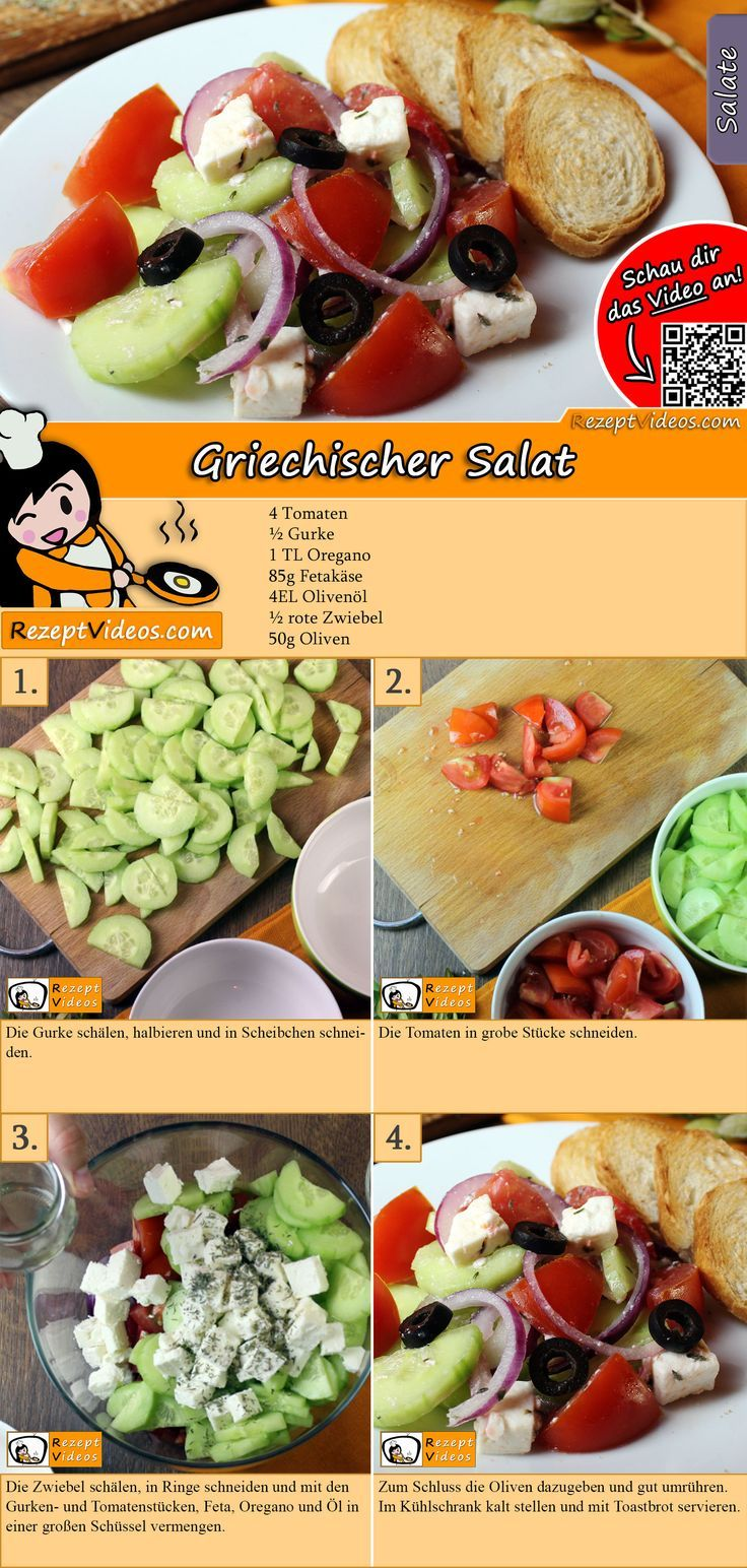 Griechischer Salat – SALAT Rezepte mit Videos, mit Rezeptkarten   – Salat