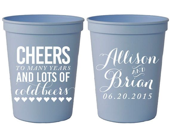Cheers To Cold Beers Wedding Cup Personalized Plastic Cups Party Custom Monogrammed 1019 By Siphipay