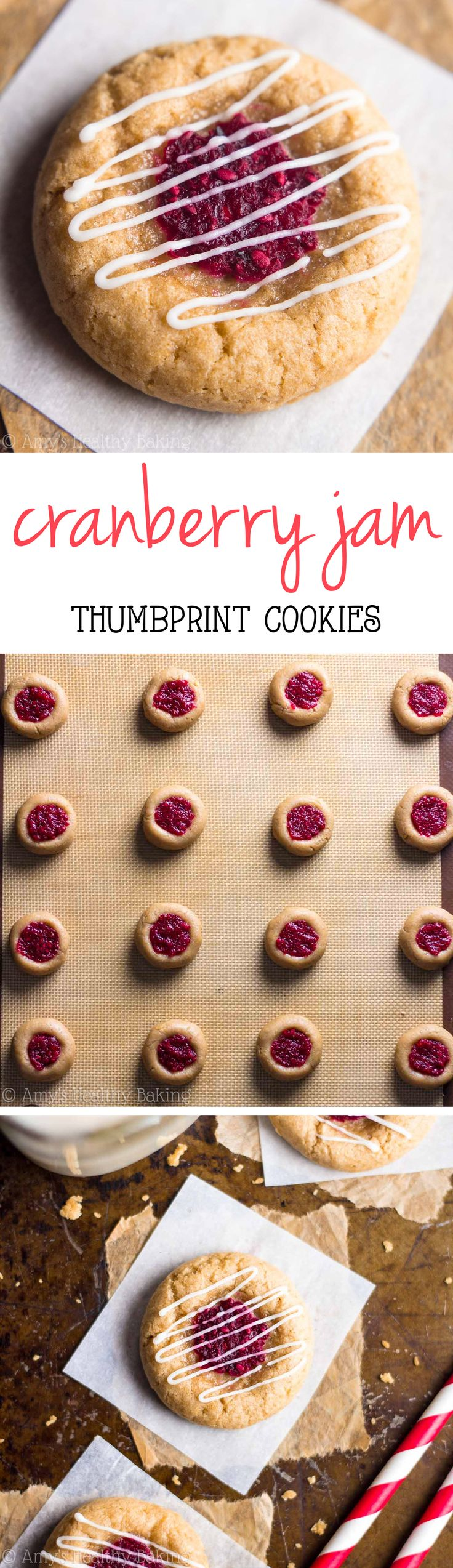 Skinny Cranberry Jam Thumbprint Cookies -- just 45 calories! Chewy, buttery & they don't taste healthy at all!