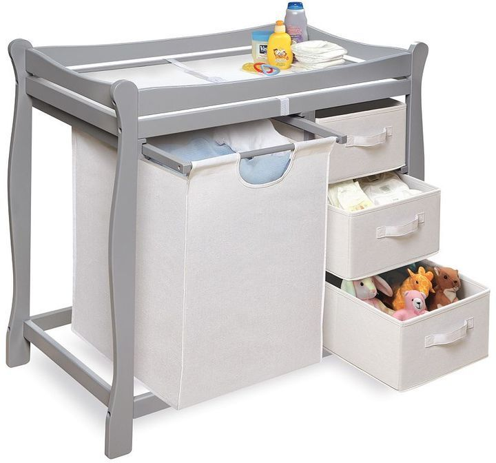 Badger Basket Sleigh Hamper Changing Table Baby Shower
