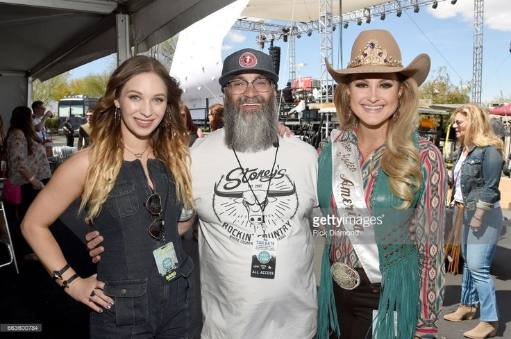 Singer Olivia Lane, Founder of Stoney's Rockin Country, Chris Lowden and Lisa Lageschaar, 2017 Miss Rodeo America at the ACM Party For A Cause: Tailgate Party on April 1, 2017 in Las Vegas, Nevada.
