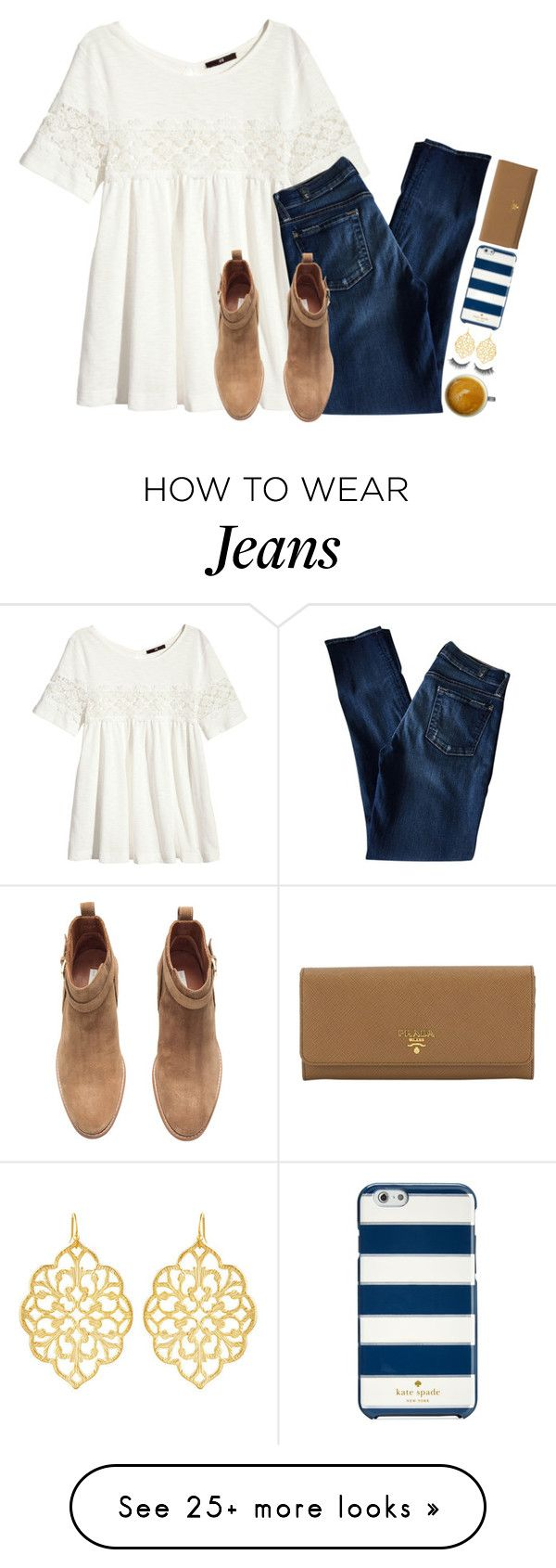 """{read d}"" by ellapearlrose on Polyvore featuring H&M, 7 For All Mankind, Kate Spade, Prada, Susan Shaw and Rimini"
